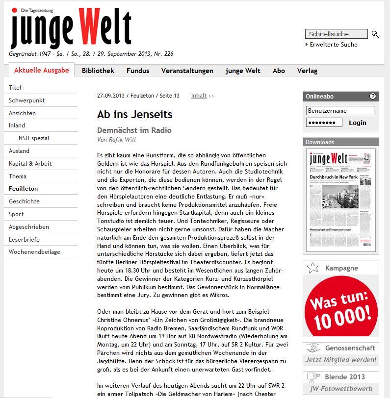 Junge Welt, 27.09.2013 Rafik Will: Ab ins Jenseits