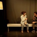 Moderatorin Marie Lilli Beckmann im Gepräch mit Hörspielmacher Felix Kubin. Foto: Tim Zülch