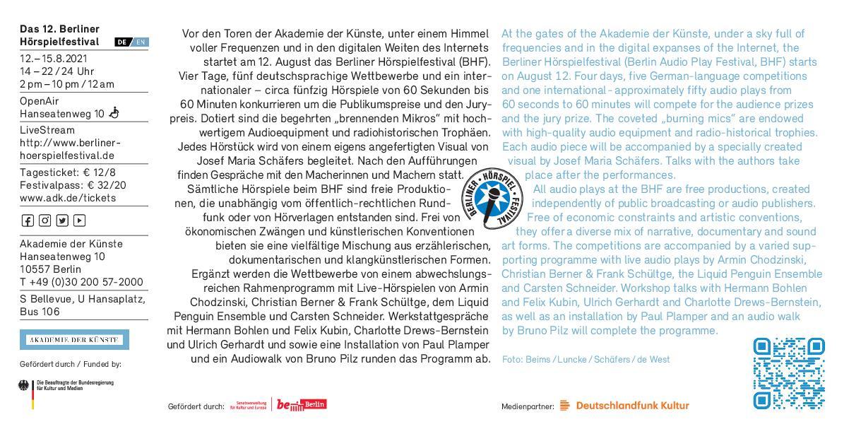 Berliner Hörspielfestival 2021 Einladungskarte, S. 2